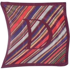 Dior Burgundy Coral Gray Stripe Silk